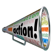 Action Words Bullhorn Megaphone Motivation Mission